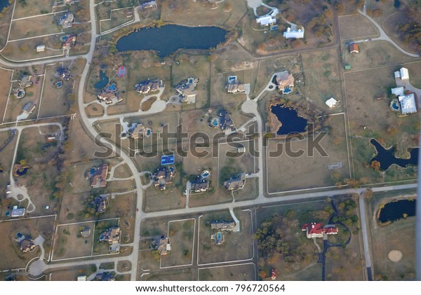 Aerial view of affluent neighborhood near Dallas