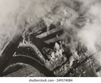 Aerial view after Allied bombing of Howaldtswerke shipbuilding yards in Hamburg, Germany. U.S. B-17 Flying Fortresses bombed the target on August 4, 1943.