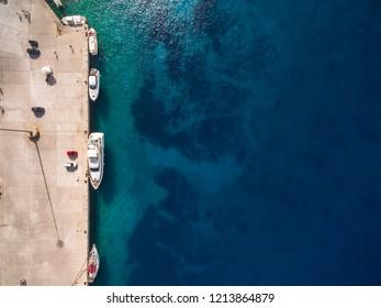 Aerial  view of  Agios Nikolaos city  in Zakynthos (Zante) island, in Greece