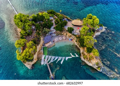 Aerial view Agios Sostis with bidge, small island in Zakynthos, Greece