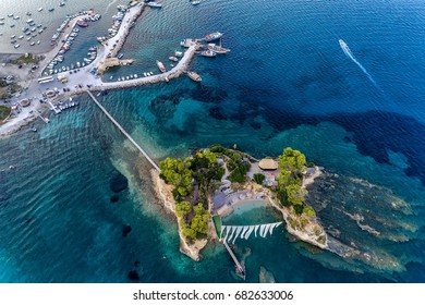 Aerial view Agios Sostis with bidge, small island in Zakynthos, Greece