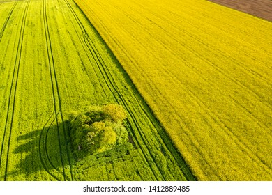 aerial view of agricultural farmland in the Swabian forest in Germany