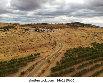 Aerial view of a agricultural field with a small village in Portugal