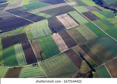Aerial view of agricultural land in the countryside