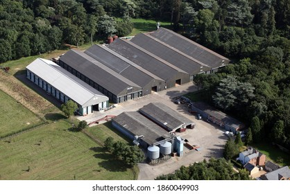 aerial view of an agricultural shed unit for storage on a farm