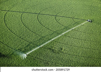 An aerial view of an agricultural sprinkler in a potato field