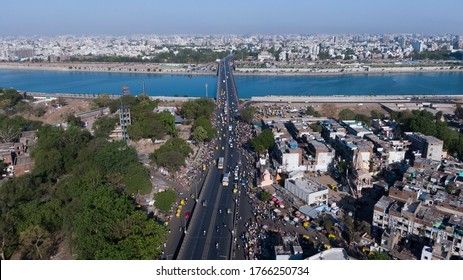 Aerial view of Ahmedabad,Gujarat/India. Riverfront and garden with skyline buildings drone view landscape. Post coronavirus covid-19 city reopens. social distancing rules after city restrictions ease.