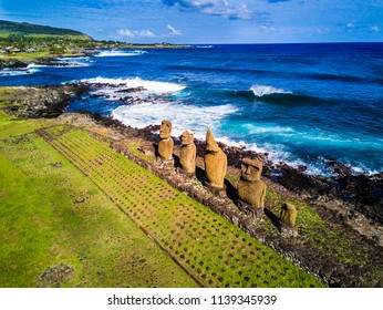 An aerial view of Ahu Vai Uri and Tahai most famous sunset at Easter Island. We don´t have to  mistake it with Ahu Tahai that is the neighbour alone Moai. It is impressive the mystic of this place.