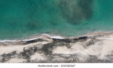Aerial view from the air to the beach on the Bulgarian Black Sea coast