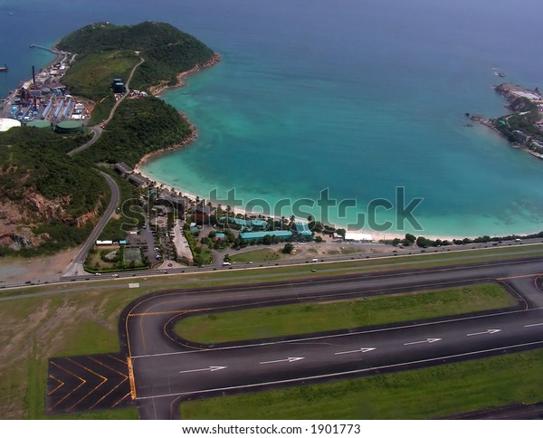 Aerial view of the airplane runway and Emerald Beach in St. Thomas, USVI