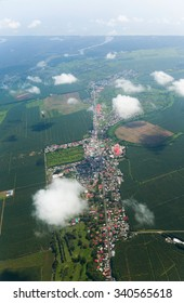 Aerial view from airplane of small town and fields, Costa Rica