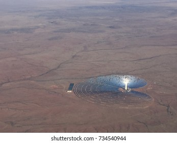 Aerial view from an airplane of a solar plant in the northern cape of south africa near the town of Upington