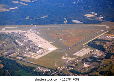 An aerial view of an airport