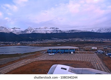 aerial view of the airport and the city of Ushuaia