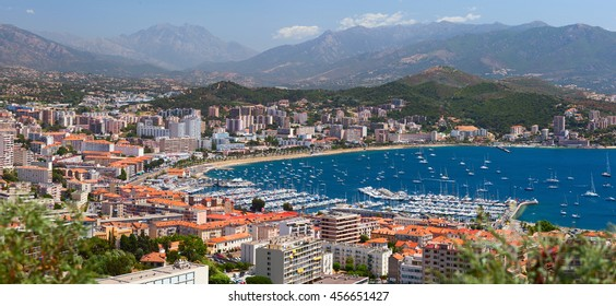 Aerial view of Ajaccio city. Corsica, France.
