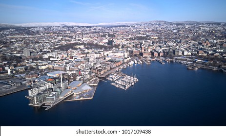 Aerial view of Aker Brygge, Oslo, Norway