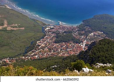 Aerial view of Akyaka, Mugla, Turkey.