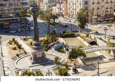 Aerial view of Al Marjeh Square in Damascus (Syrian Arab Republic) after war ended in 02.12.2019