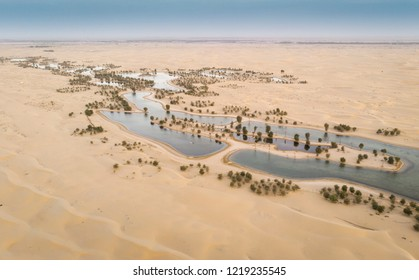 aerial view of al Qudra desert and lakes near Dubai