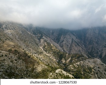 Aerial view of Albanian Alps from Llogara Pass in the Albanian Riviera (Albania)
