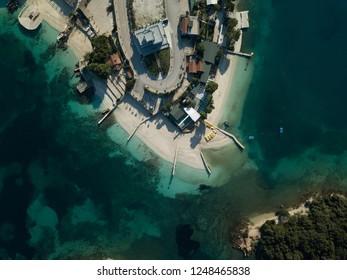 Aerial view of Albanian beaches of ksamil (Albanian Riviera)
