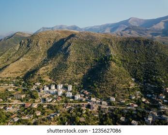 Aerial view of Albanian landscape in autumn.  Location is Delvina / Delvine, Albania (Albanian Riviera)