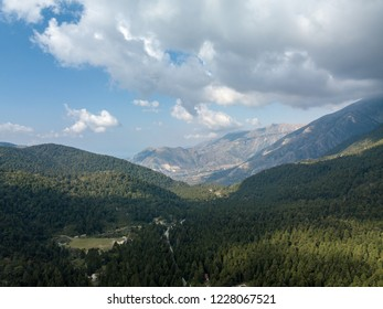 Aerial view of Albanian landscape and mountains along the Albanian Riviera.  Beautiful forest location with Albanian Alps in background