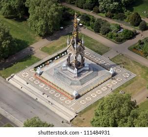 aerial view of the Albert Memorial, Kensington, London