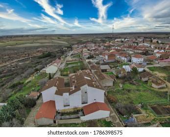 Aerial view in Alcarria, Guadalajara. Trijueque,Spain. Drone Photo
