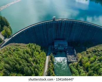 Aerial View Alder Lake Dam Concrete Wall