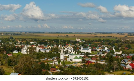 Aerial view of the Alexander Monastery (in the foreground) and the Intercession Monastery (in the background) of Suzdal from the highest bell tower of the city.