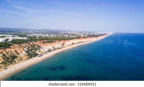 Aerial view of Algarve Beach. Beautiful Falesia beach from above in Portugal. Summer vocation