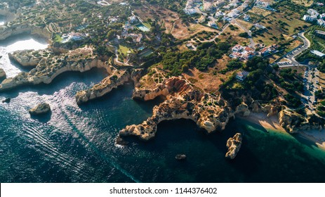 Aerial view of the Algarve beaches. Concept for above beach of Portugal. Summer vacations.