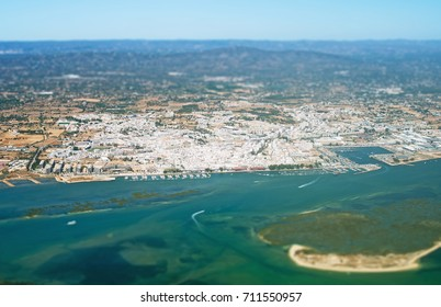 Aerial view of Olhão, Algarve, Portugal.