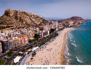 Aerial view of Alicante city with Benacantil mountain and Castle of Santa Barbara, Spain