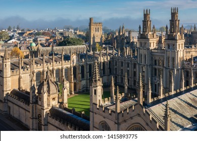 Aerial view of the All Souls College in Oxford, UK