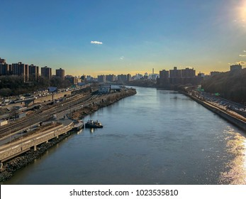 Aerial view along the Harlem River of the Bronx and Manhattan in New York City