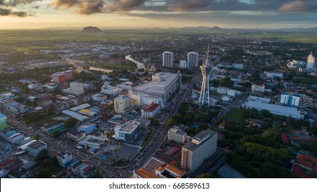 Aerial view of Alor Setar town with beautiful clouds in the evening