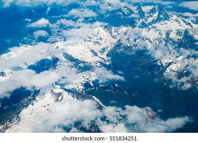 Aerial view of the Alpine region of Switzerland