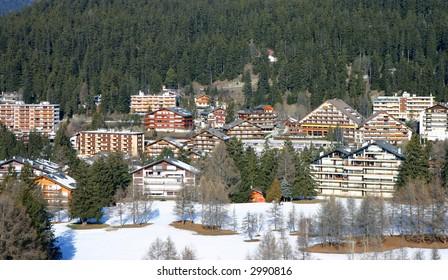 Aerial view of an alpine ski resort (Crans-Montana, Switzerland)