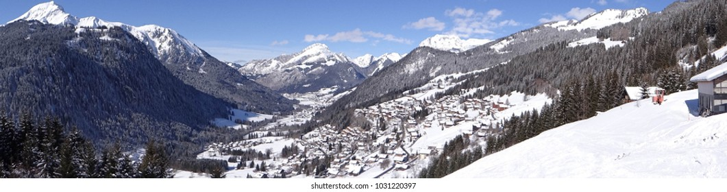 Aerial view of the alpine village of Chatel, France