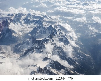Aerial view of the Alps mountains on the border between Italy France and Switzerland