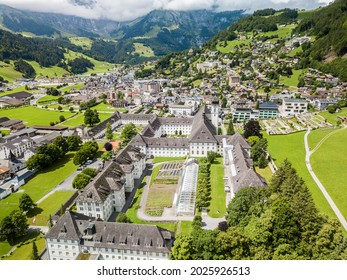 Aerial view of the Alps town Engelberg, which is a famous recreation area for outdoor and sports activities.