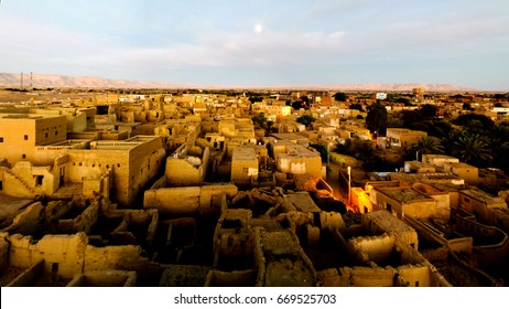 Aerial view to Al-Qasr old town in Dakhla oasis, Egypt