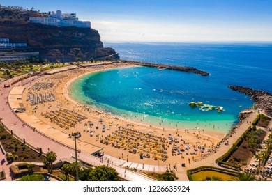 Aerial view of the Amadores beach on the Gran Canaria island in Spain. The most beautiful beach on the island.