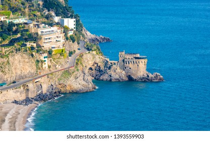 Aerial view of Amalfitan Coast near Maiori in province of Salerno, Campania, Italy. Amalfi coast on is popular travel and holyday destination in Europe.