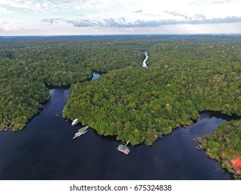 Aerial view of the Amazonia Forest and Anavilhanas Jungle Lodge, in Negro River, near Novo Airão city, Amazonas, Brazil