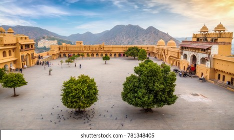 Aerial view of Amber Fort open courtyard Jaipur, Rajasthan at sunrise with distant landscape