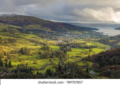An aerial view of Ambleside from Nab Scar in the English Lake District