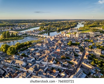 Aerial view of Amboise city, Loire valley